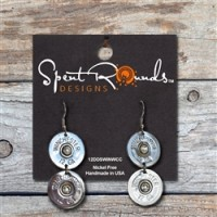 Picture of SRD 12 Gauge Double Dangle Silver Winchester with Clear Crystals Earrings